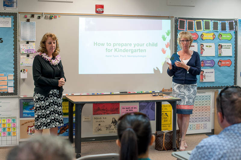 Eileen Novak talks to Kindergarten parents at the Ready for Kindergarten orientation in 2018.