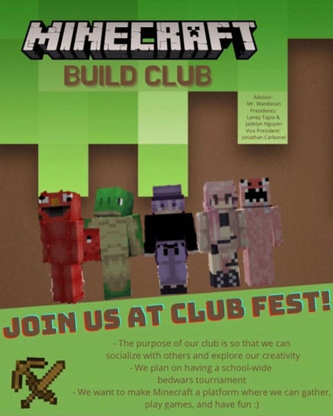 Minecraft Build Club flyer for virtual Club Fest