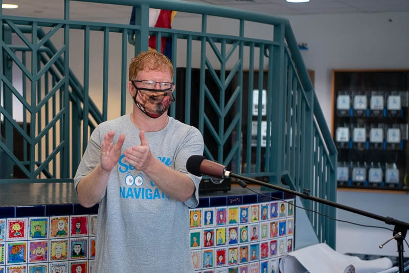 Steve Ross, Elementary Principal, leads virtual assembly