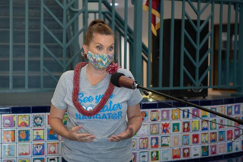 Katherine Jones speaks at virtual assembly