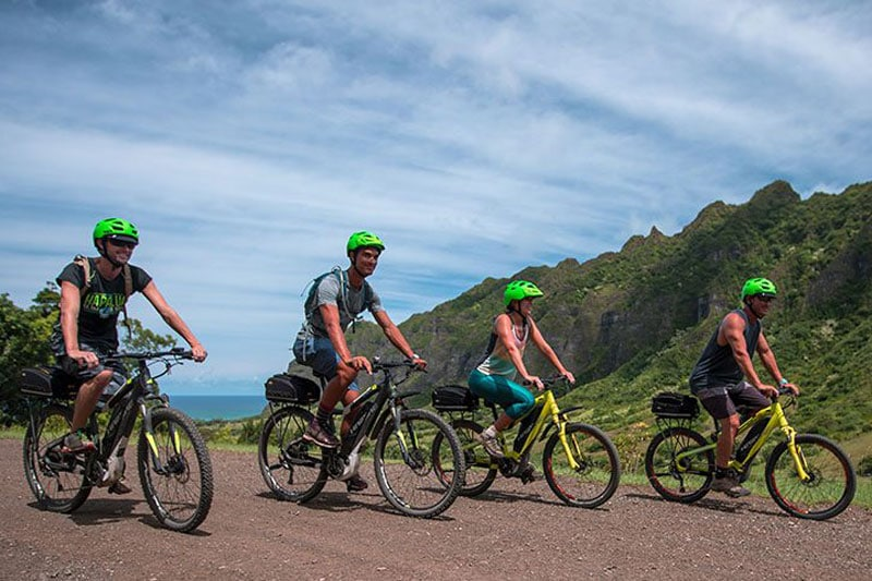 Bikers on Kualoa bike tour