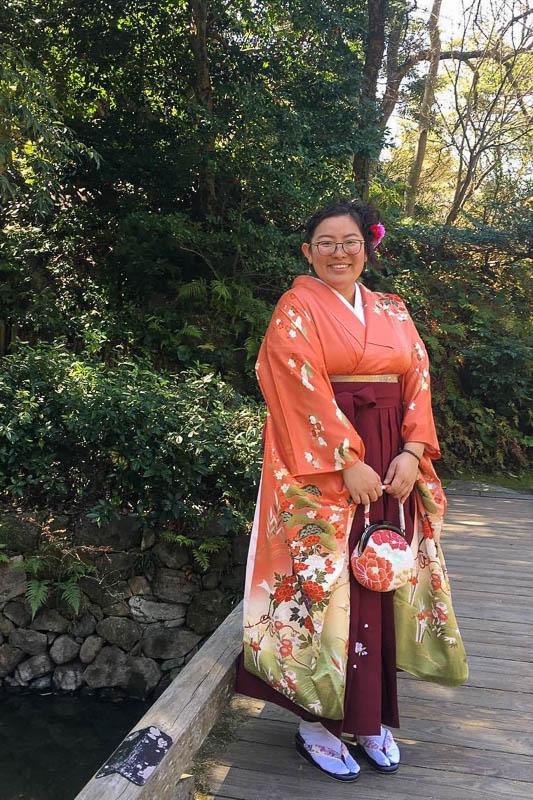 Kelsey at a kimono event in Fukuoka, Japan.