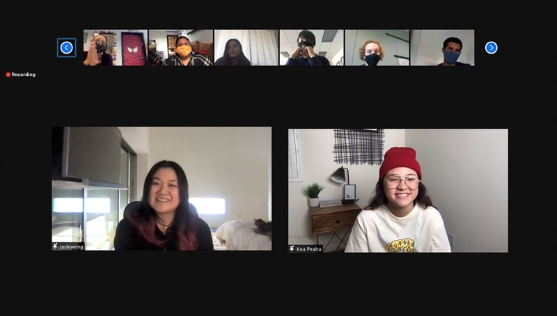 Kea Peahu and Jude Weng from Finding ʻOhana talk with IPA students on Zoom