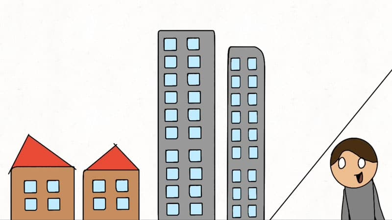 Animated character with buildings