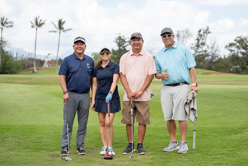 Golfers at golf tournament