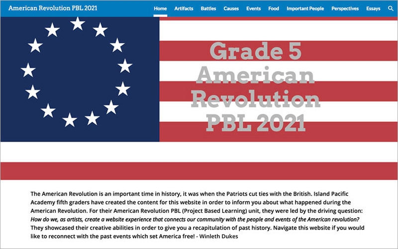 Screenshot of American Revolution website