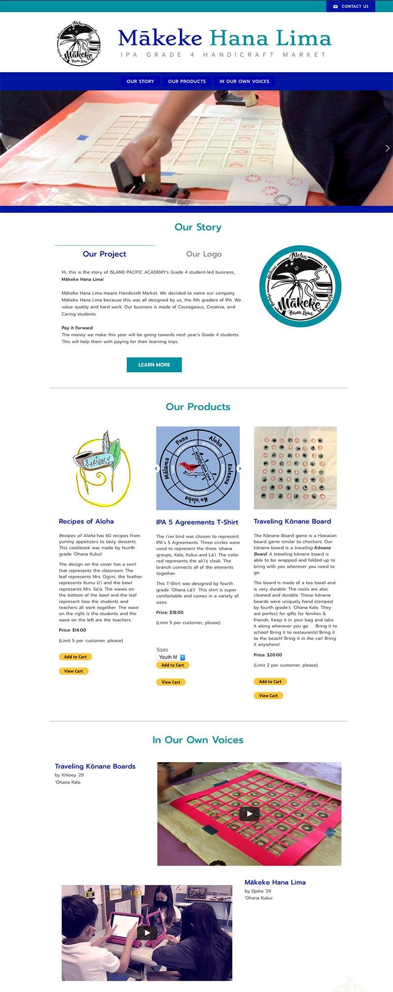 Screenshot of online marketplace