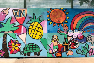 Colorful student mural of Hawaii