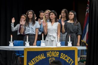 NHS inductees take the pledge at induction ceremony